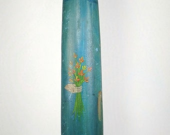 McNiesh Signed Blue Girl Carved Tole Painted Wood Art Sculpture Large 24 in