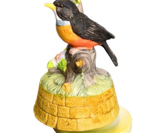 Aldon Bisque Porcelain Robin Red Breast Music Box Bird Vintage