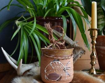 Vintage Hanging Pottery Planter / Made in Japan / Small Hanging Succulent-Plant Pot / Pottery Hanging Flower Pot Planter