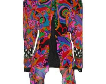 VTG 80s Diane Fries Silk Boho Chic Gypsy Butterfly Blouse