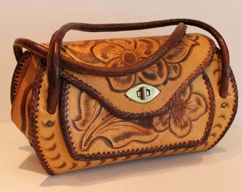 Vintage Tooled Leather Handbag - Tooled Leather Purse - Floral Decal Leather Bag