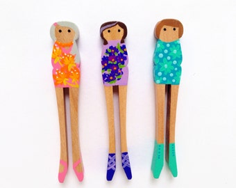 Set of Three Wooden Clothespin Dolls - Flower Girls