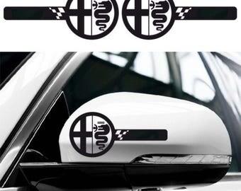 2x ALFA ROMEO Wing Mirror Side Body Decals Stickers Graphics Giulia 4C Spider Mito 156 Gta 147 Giulietta Spark - for All models