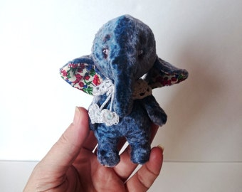Blueberry Teddy Elephant Stuffed Animal soft toy Artists Miniature Teddy Elephant