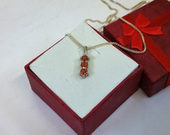 Pendant in Silver 925 Crystal stones orange SK980