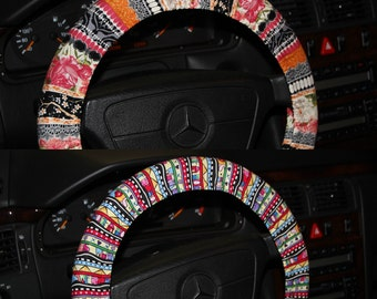Multi-color tribal steering wheel cover / Girls gift idea/  Valentines day gift .