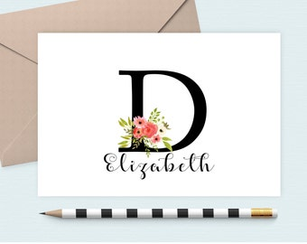 Personalized stationery set/Initial  Notecard/Monogram Note Card/Personalized stationery, custom notecard