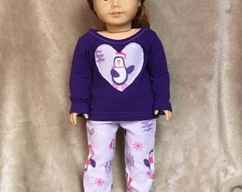 Purple Penguin PJ Set ~ Handmade to fit like American Girl Doll Clothes, 18 inch doll clothes