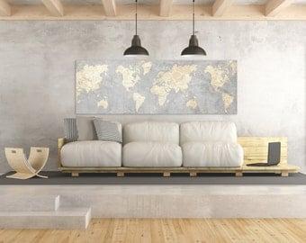 Etonnant WORLD MAP Canvas Print Vintage Neutral Light Gray Beige World Map Panoramic  Horizontal Long Wall Art