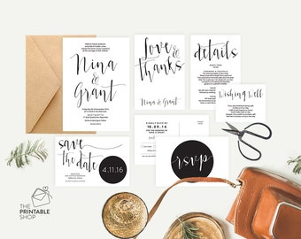 Black and white wedding stationery, Printable invitation set, Script wedding invitations, Rustic printable wedding invitations