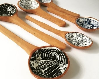 Ceramic Serving Spoons, Set of Two, Tribal, Koi Fish, Indigo, Floral, Waves, Rustic, Housewarming Gifts, Spoons, Made in Australia.
