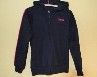 Ladies vintage Lonsdale London sports hoodie jacket black with pink trim  UK Size 10