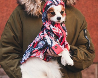 Waterproof raincoat with cool feather print -Dog Coat - Dog Clothing - Pet Clothes - Available to Any Breed