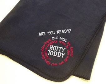 HOTTY TODDY!!  Stitched Ole Miss Rebels fleece Blanket - great for tailgating, great for gifts!