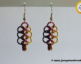 Earrings - German flag colours, Chainmaille
