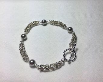 Silver bracelet, chainmail bracelet, silverbymaggie, chain bracelet, sterling bracelet, woven bracelet, pearl bracelet, link bracelet,