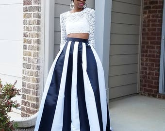 Satin Maxi Ball Skirt (XS - 6XL) Black and White stripes Any Length, Any Size