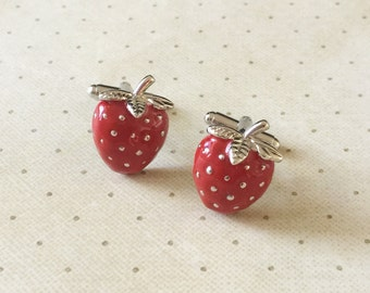 Strawberry Cufflinks Cuff Links in Silver