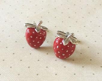 Strawberry Cufflinks Cuff Links in Silver