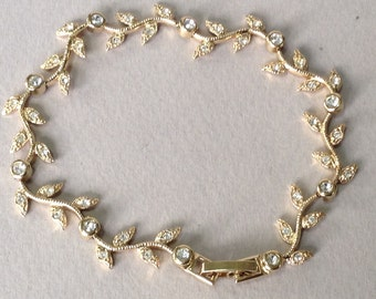 Nadri Gold Tone Delicate Rhinestone Wedding Bracelet