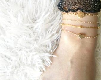 Gold Heart Bracelet, Satellite Bracelet, 14k Gold Fill Bracelet, Gold Chain Bracelet, Gold Dot Bracelet, Layering Bracelet, Stacking Chain