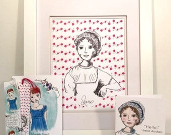 Jane Austen Gift Set - literary - wall art - gift