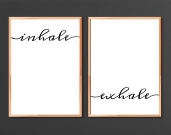 Inhale Exhale Print Yoga Wall Art Prints Printables Pilates