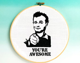 Bill Murray | Inspirational | Wall Art | Icon Art | Hoop Art | Embroidered | Home Decor | Funny Gift | Housewarming Gift  | Cloth and Twig