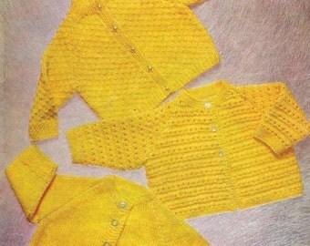 "Vintage Knitting Pattern pdf~Three Baby Cardigans~QK~16-22""~Instant Download"