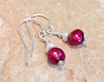 Red drop earrings, freshwater pearl drop earrings, sterling silver drop earrings, red dangle earrings, pearl earrings, silver earrings