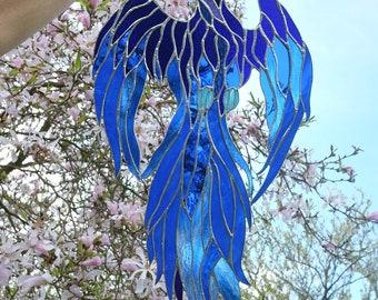 Stained Glass Bird - Blue Glass Phoenix - Window Hanging Panel - Tiffany Style Suncatcher - Gothic Fantasy Home Decoration - Boho Home Decor