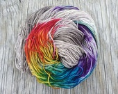 Somewhere There's a Little Piece of Rainbow - Superwash Merino + Nylon - Hand Dyed Sock Yarn - Hand Dyed Yarn - Fingering Yarn - Merino Wool