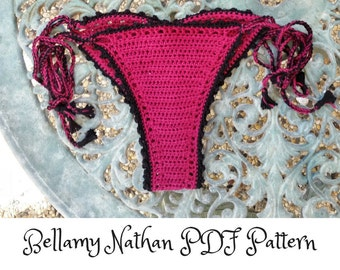 "Crochet Bikini Bottom Pattern, ""Electra"" Crochet Bikini Brazilian Bottom. Sizes XS-L"