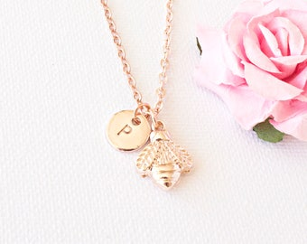 Rose gold bee necklace, rose gold bee jewellery, bumble bee, gold bee necklace, bee necklace,gift for mother, sisters necklace, RGBEIN0417