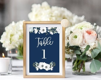Instant Download    Printable Table Numbers, Wedding, Bridal Shower, Baby Shower, Party, Party Decor, Navy, Floral