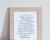 Psalm 130 | calligraphy art print, From the Depths of Woe, Martin Luther, hymn art print, modern calligraphy