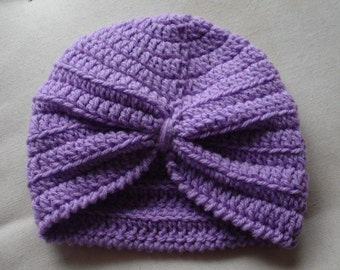 Baby Turban Hat crocheted in 8 ply Purple Acrylic Yarn