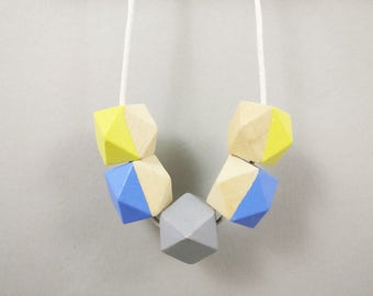 Geometric Necklace - Light Blue, Grey Yellow | Statement Necklace | Gift for her | Geometric Jewellery | Beaded necklace | Geo