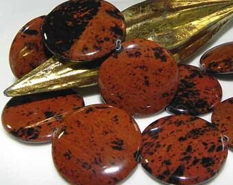 Mahogany Obsidian - Taler flat - polished - line 40 cm
