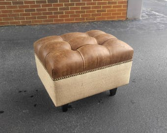 Upholstered. Tufted. Vegan Leather and Burlap Ottoman with Nail Head~ Design 59