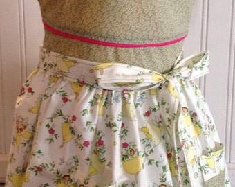 Vintage style girls full apron yellow ballerinas green bodice pink trim