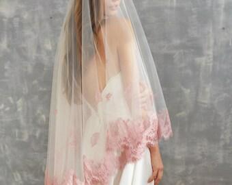 blush veil, blush wedding veil, lace veil, fingertip veil, cathedral veil, blush wedding dress, blush lace, blush cathedral veil
