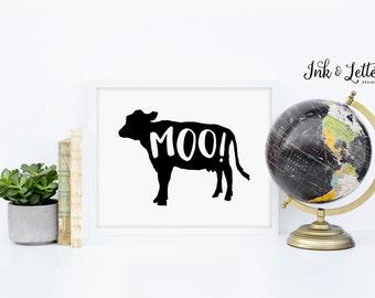 Cow Printable - Moo Print - Animal Print - Animal Sounds - Animal Nursery - Playroom Decor - Black and White - Instant Download - 8x10