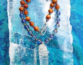 Crystal Goddess Purple Necklace - OOAK Mala