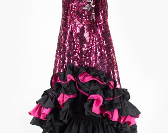 Fabulous vintage pink sequin prom dress