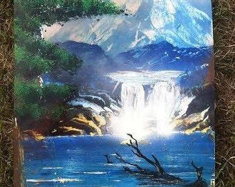 nature waterfall spray paint art