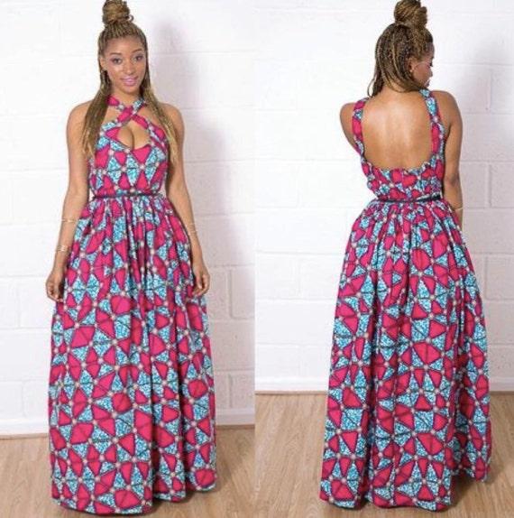 Criss cross African print dress
