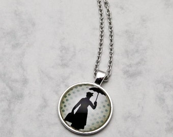Mary Poppins Necklace Pendant OR Keychain fashion jewelery inspired Musical Movie Keyring Supercalifragilisticexpialidocious Chimney vintage