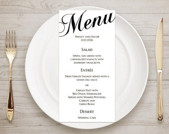 Printable wedding menu card Traditional wedding Digital menu template Instant download menu diy Classic wedding menu Table decor T52
