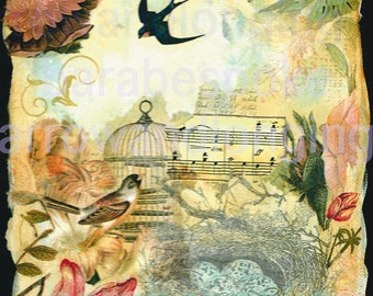 """Art Print SWALLOW""""S  KEEP from my original art collage, ACEO, note card, 8 x8 inch print"""